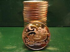 "20 ""Christmas Rounds - SANTA"" 1 oz .999 Copper Christmas TREE Back-Beautiful"