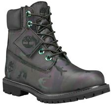 """Womens Ladies Timberland 6"""" Black Camo Icon Fabric Boots shoes Size UK 5 Rare"""
