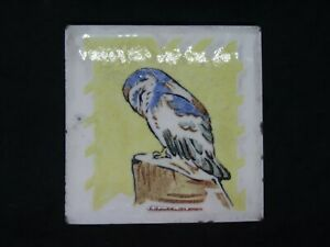 1930's Dunsmore Tile of an Owl painted by Polly Brace, rare