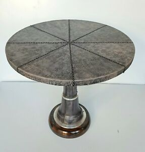 Nautical Leather Stitched Table Round Antique Furniture Home Restaurant Décor