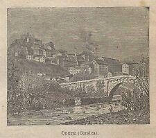 A0634 Corte (Corsica) - Veduta - Stampa Antica del 1911 - Xilografia