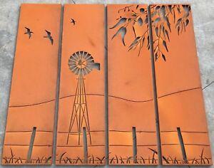 Decorative Garden Metal Fence Screen 'Outback' Lasered, 2000x2250, Corten Steel