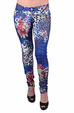 Womens Casual Floral Pattern Skinny Stretch Slim Fit Denim Trousers Jeans