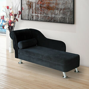 Deluxe Black Chaise Recliner Lounge Sofa Day Bed Bolster Cushion