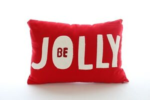 """Martha Stewart Collection Jingle Velvet 'Be Jolly"""" Decorative Pillow Red H265"""