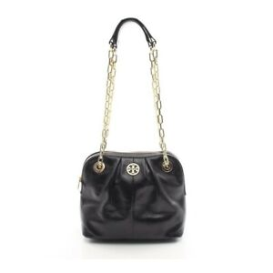 Tory Burch Dena Mini Bag Black Leather Double Chain Shoulder Handbag BRAND NEW