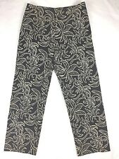 Haven Bleu Womens Pants 8 Black Tan Tropical Stretch Ankle Embellished Beaded