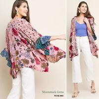 UMGEE Floral Mixed Print Ruffle Sleeve Kimono SML & Plus XL 1X 2X USA Boutique