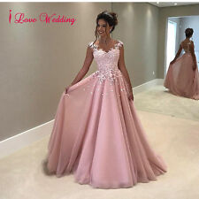 2017 Evening Dress Formal Pink Tulle Lace Pearls Prom Party Bridal Gowns Custom