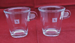 Nespresso Glass Collection Clear Demitasse Espresso Coffee Mug Cup Set of 2 (B)