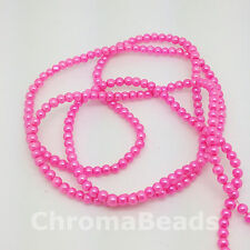 3mm Glass Faux Pearls strand - Candy Pink (230+ beads) jewellery making, craft