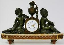 LARGE ANTIQUE FRENCH MANTEL CLOCK Striking zinc brut & marbre ANGELOT figurées 8 Jour