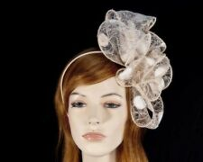 Nude gold bow fascinator by Max Alexander for races & special event RRP:$89.95