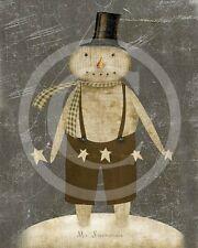 Primitive Mr Snowman Christmas Winter 8x10 Print Laser Printed