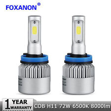 2PCS H11 6500K Car LED Light Bulb S2 Headlight 72W 16000LM Kit High Low Beam