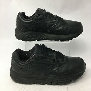 Brooks Womens 8.5 EE Addiction Lace Up Walking Shoes Black Leather 1200322E001