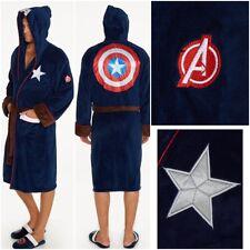 Mens Marvel Avengers Captain America Fleece Dressing Gown Bath Night Gown Robe