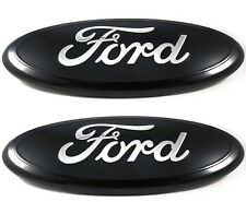 2004 - 2014 FORD F-150 FULL BLACK OVAL FRONT GRILLE & TAILGATE 9 INCH LOGO SET