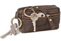 Woodland® Große Schlüsseltasche mit Extrafach in Dunkelbraun aus Büffelleder