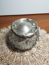Vintage Art Deco Sterling Silver Poppy Top Cut Glass Powder Jar