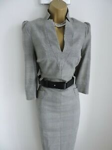 Karen Millen Size UK 14 STUNNING CHECKED BELTED PENCIL FOREVER DRESS