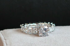 Genuine 925 Silver Bling Chunky 1.25 ct Cz emerald cut solitaire eternity ring