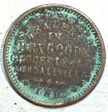 Kendallville Indiana Civil War Token S. C. Evans Dry Goods Grocer R7 Store Card