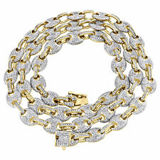 "Link Diamond Chain Christmas Special 30""In Solid 14K Yellow Gold Over Puff Gucci"