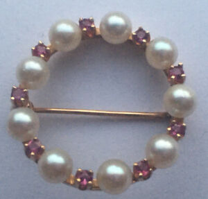 """Beautiful Vintage 14k Solid Yellow Gold 9 Pearl 9 Pink Stone Round 1"""" Brooch Pin"""
