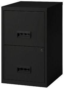 2 Drawer A4 Metal Steel Lockable Filing Draw Cabinet - Black 650H x 400Wx 400Dmm