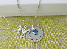 Horse Gift Necklace Personalised Name Birthstone Silver Plated Chain Birthday
