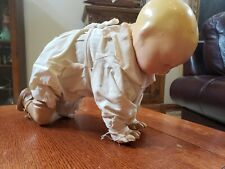 """Antique Composition Baby Doll Ramp Walker Crawling Baby 14"""" Mechanical"""