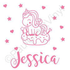 PERSONALISED NAME CUTE UNICORN DOUGHNUT DECAL STICKER, KIDS ROOMS, WALL, TOY BOX