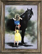 Giraffe on Blue Lesley Hallas Children/'s Art Print Poster 9x20