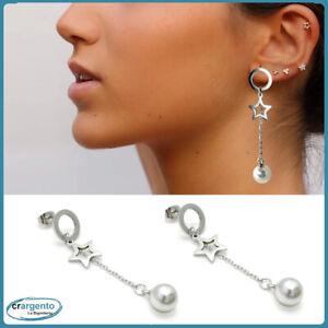 orecchini da donna pendenti lunghi acciaio inox con stella perle catena a perno