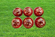 Premium Quality LEATHER 4 Piece 156gm Turf 50 OVERS RED Cricket Ball (6 Balls)