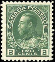 1922 Mint H Canada 2c F+ Scott #107i Admiral KGV Stamp