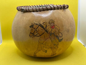 Vintage Gourd Art Bowl Hand Painted Western Themed Cowboy Horse Signed