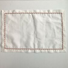 White Linen Rectangle Placemats Hemstitch Pink Rosette Set of 8 Floral Spring