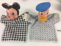 Hand Puppet Vtg Walt Disney WDP Productions Set 2 Gund Mickey Mouse Donald Duck