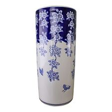 Umbrella Stand Ceramic Brolly Stick Holder or Vase Flowers and Butterfly Design