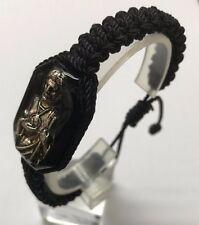 Pulsera San Judas Tadeo en metal e imagen doble tejida hilo negro hecho a mano
