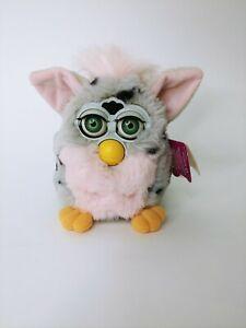1998 Furby Leopard Gray Black Spots Pink Ears, Belly Green Eyes *Not Working*