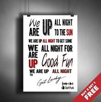 DAFT PUNK POSTER * Get Lucky Song Lyrics Music Typography Wall Art A3 / A4 SIZE