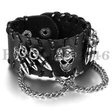 Men's Gothic Rock Punk Skull Chain Wide Leather Bullet Charm Wristband Bracelet