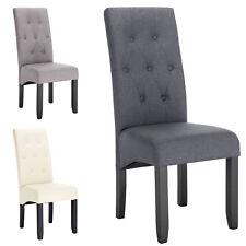 2 x Esszimmerstühle Küchenstuhl Polsterstuhl Design Stuhl Leinen Holz #1197