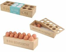 Hevea Wooden 12 Egg Organiser Egg Station Holder Tray Storage Rack Wood Kitchen
