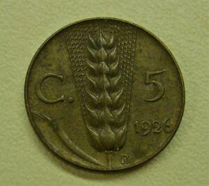 1926R Italy 5 CENTESIMI Vittorio Emanuele III Coin