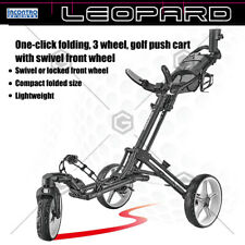 Leopard One-click Folding 3 Wheel Golf Push Cart with Swivel Front Wheel