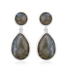 Natural Labradorite Gemstone 925 Sterling Silver Dangle Earrings Jewelry